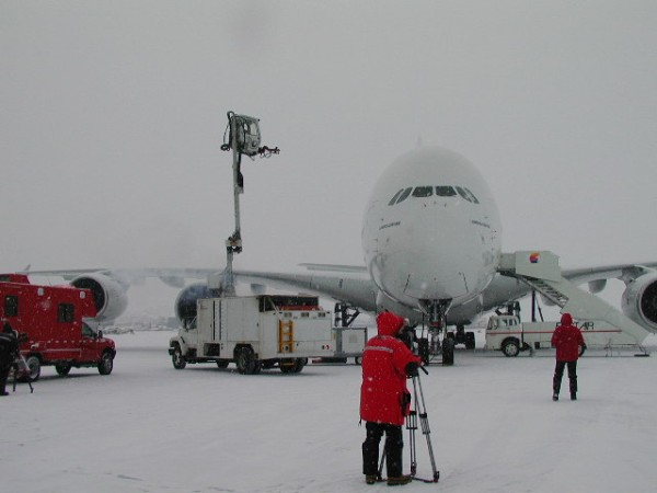 Airbus A380 cold weather testing in Canada as part of the EASA Certification process. Maximum take-off weight 580,000 kg.